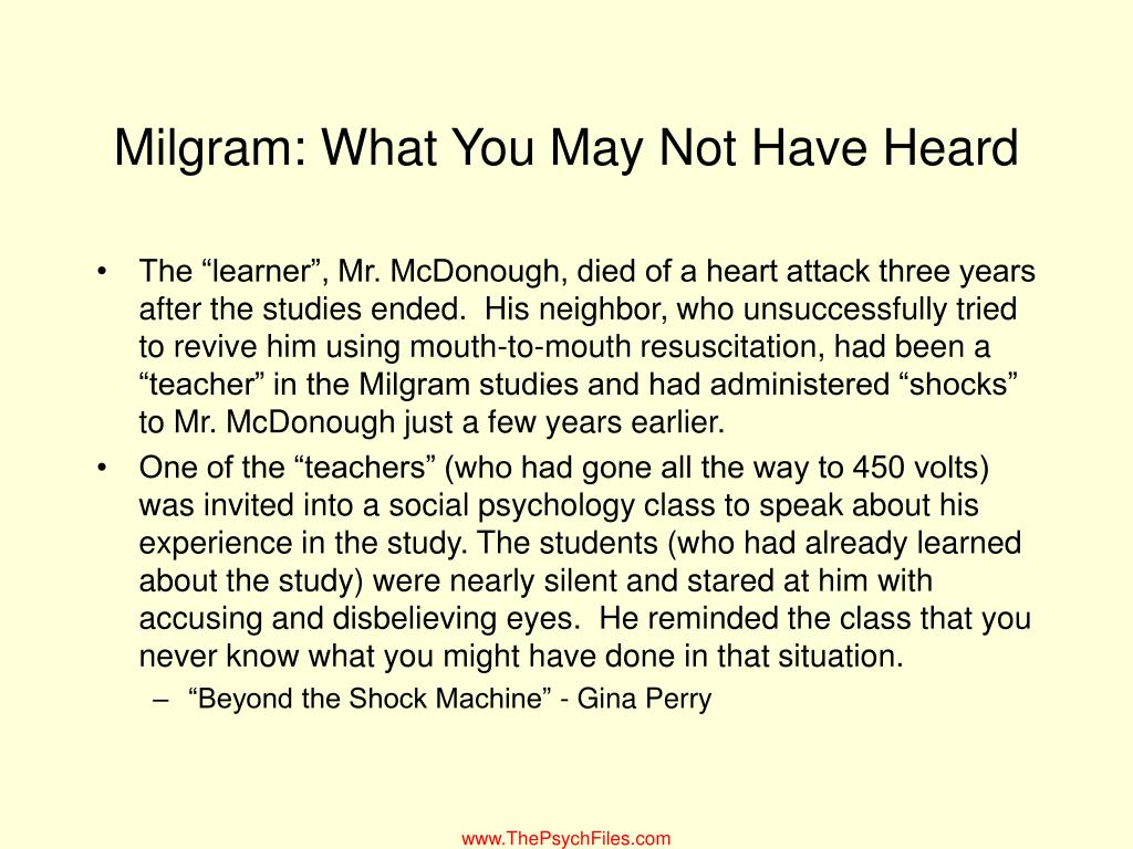 Milgram: What You May Not Have Heard