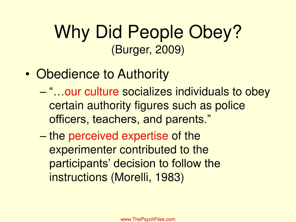 Why Did People Obey?
