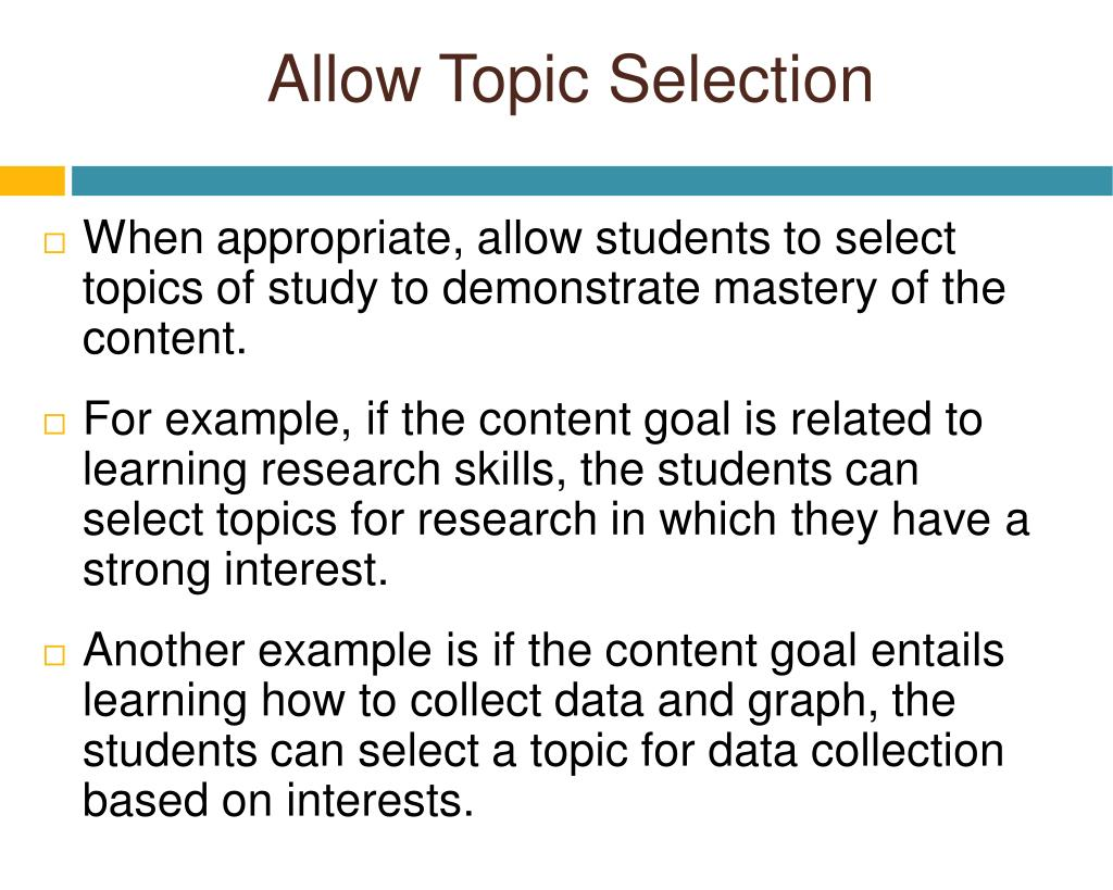 Allow Topic Selection