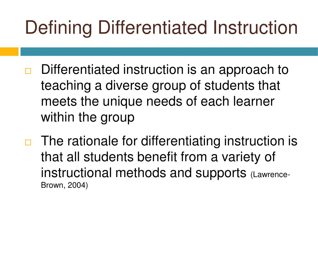 Defining Differentiated Instruction