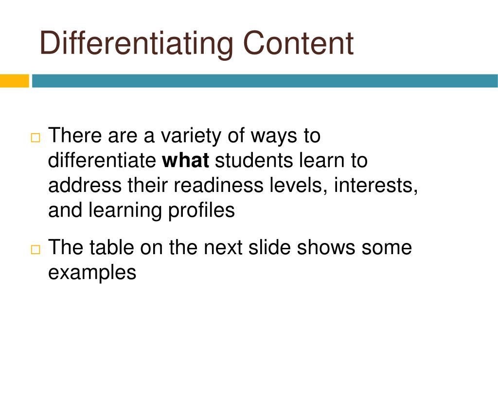 Differentiating Content