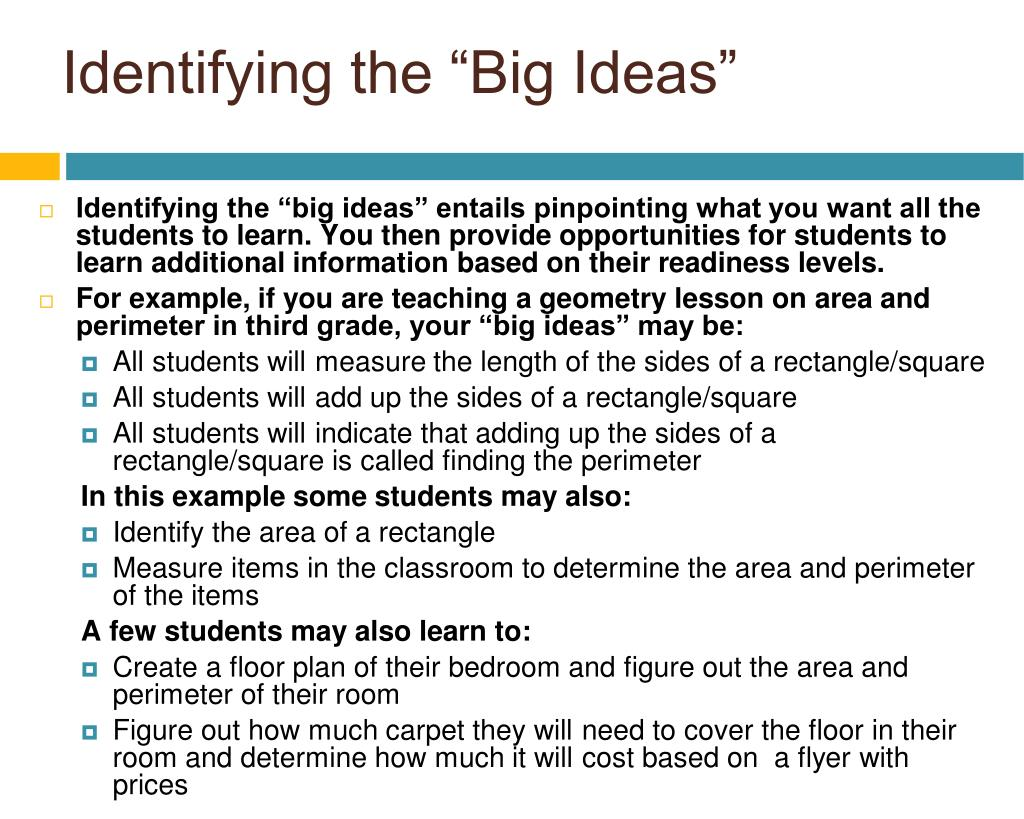 "Identifying the ""Big Ideas"""