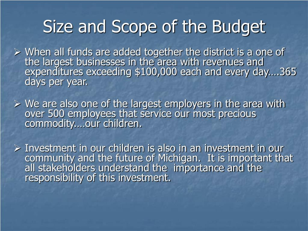 Size and Scope of the Budget