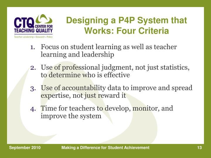 Designing a P4P System that Works: Four Criteria