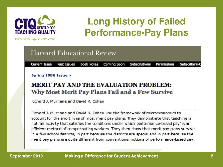 Long History of Failed Performance-Pay Plans