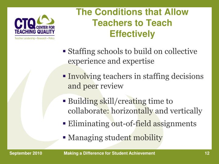 The Conditions that Allow Teachers to Teach