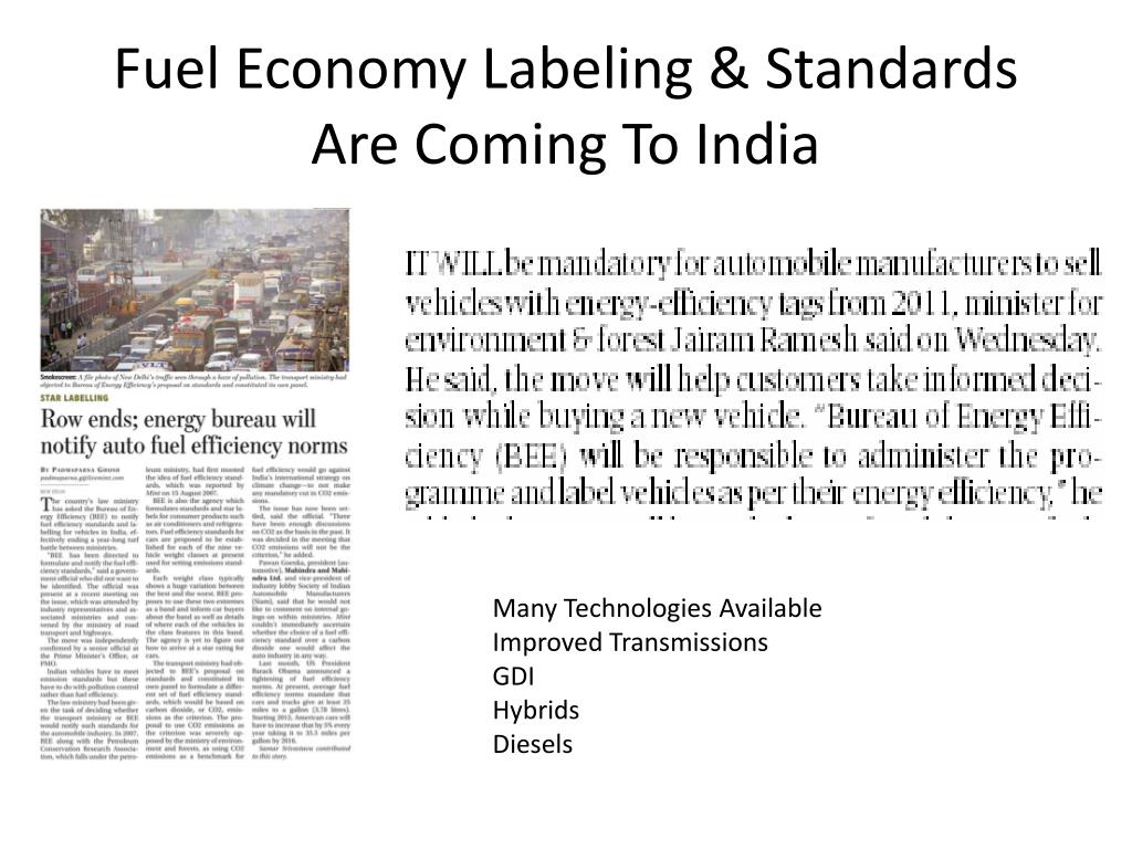 Fuel Economy Labeling & Standards Are Coming To India