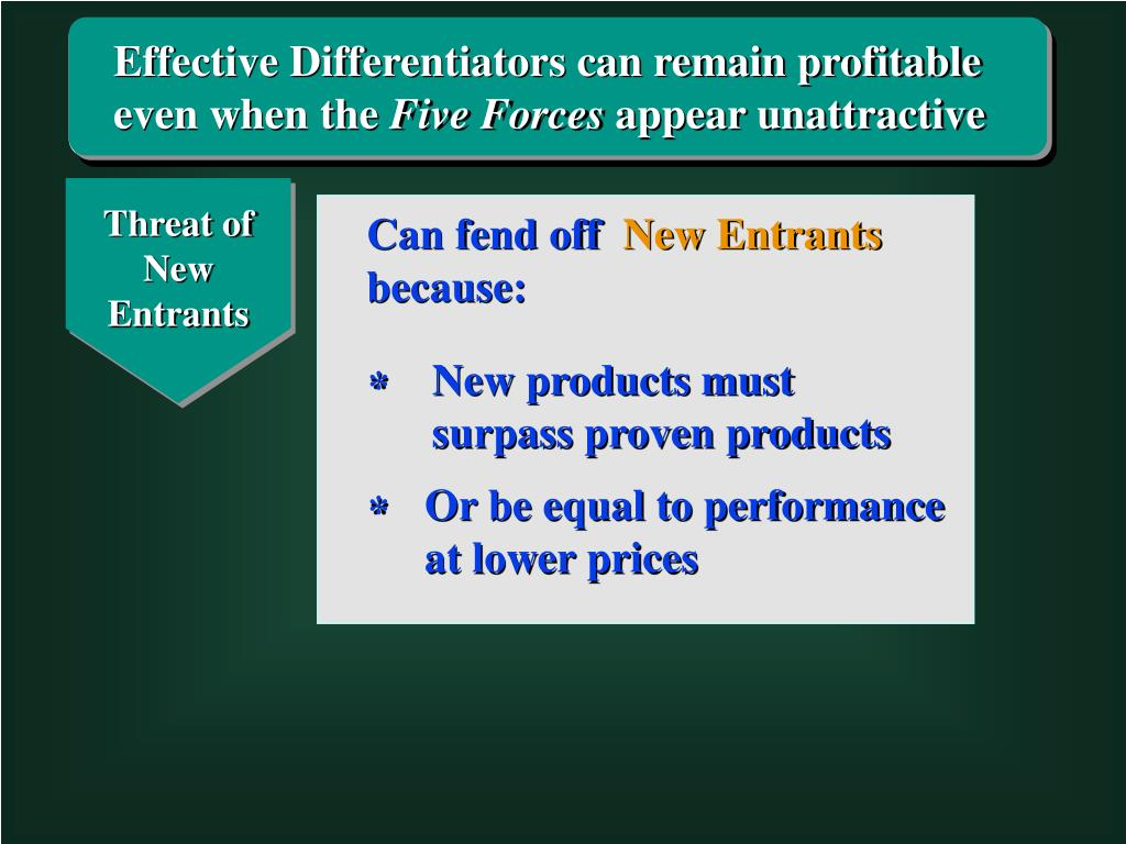 Effective Differentiators can remain profitable even when the