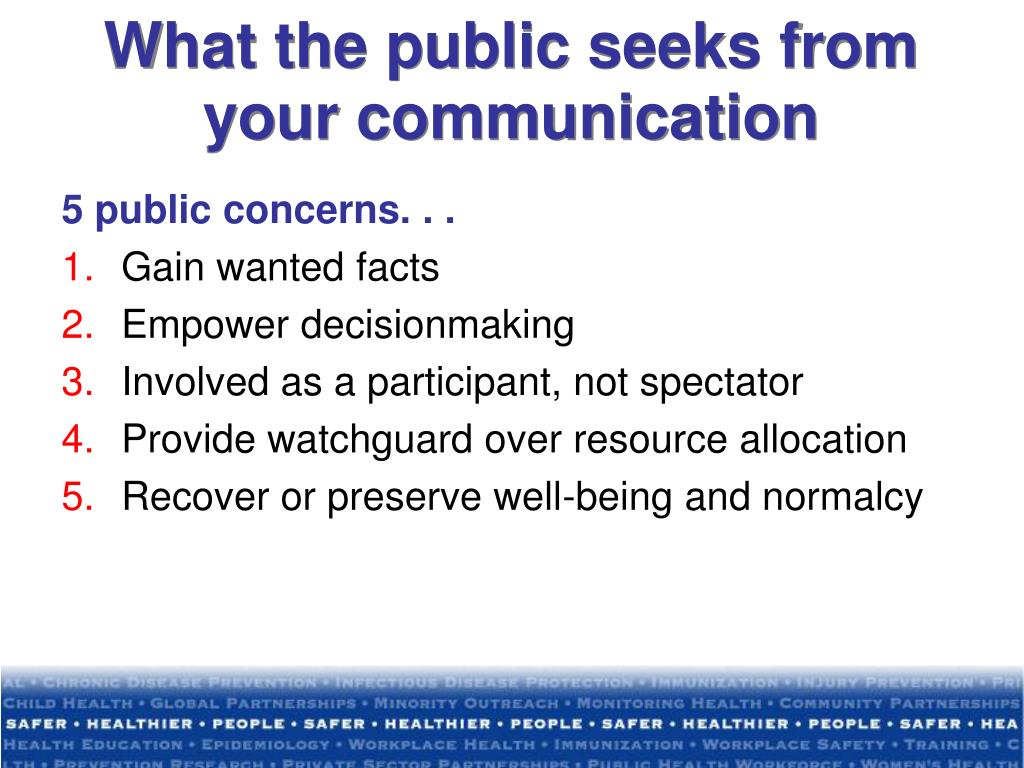 What the public seeks from your communication