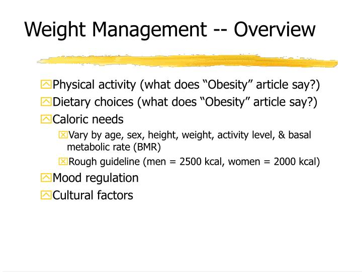 Weight management overview