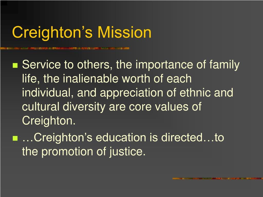 Creighton's Mission