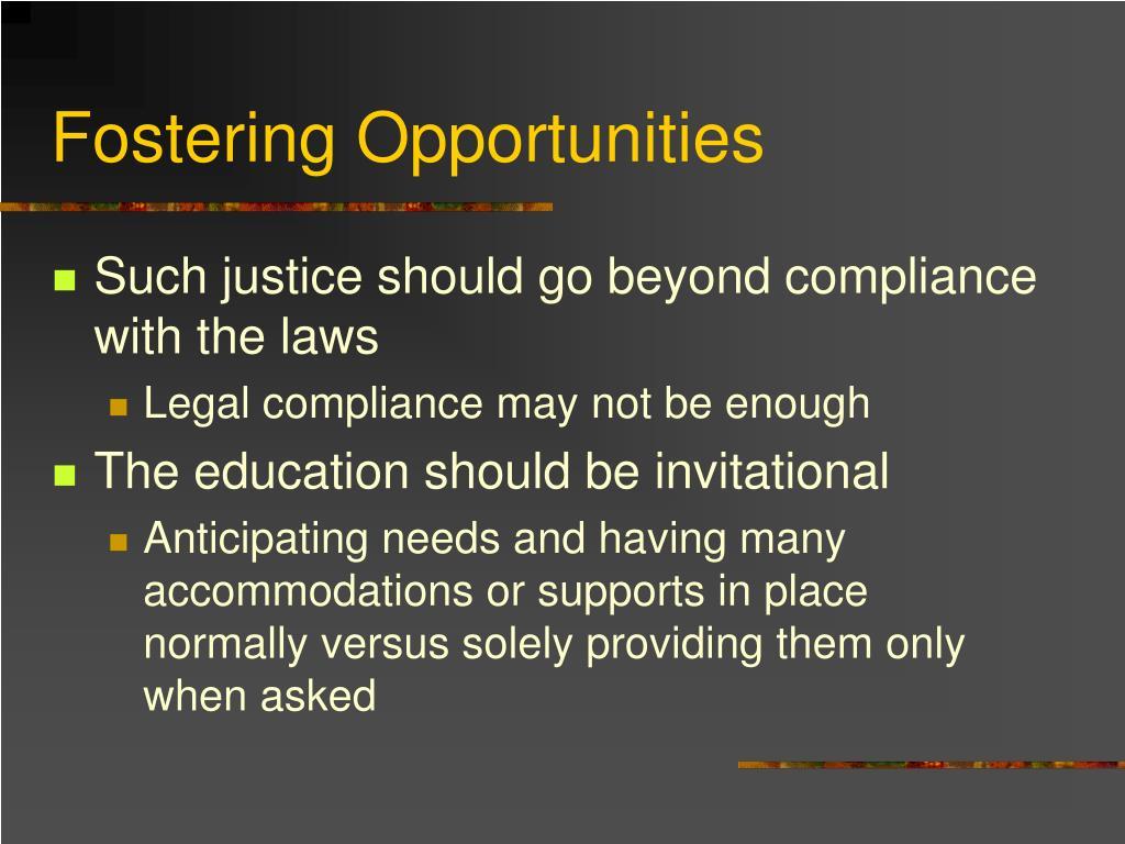 Fostering Opportunities