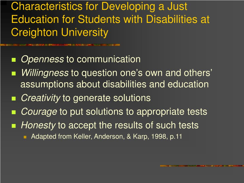 Characteristics for Developing a Just Education for Students with Disabilities at Creighton University