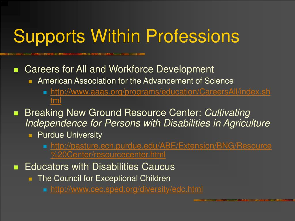 Supports Within Professions