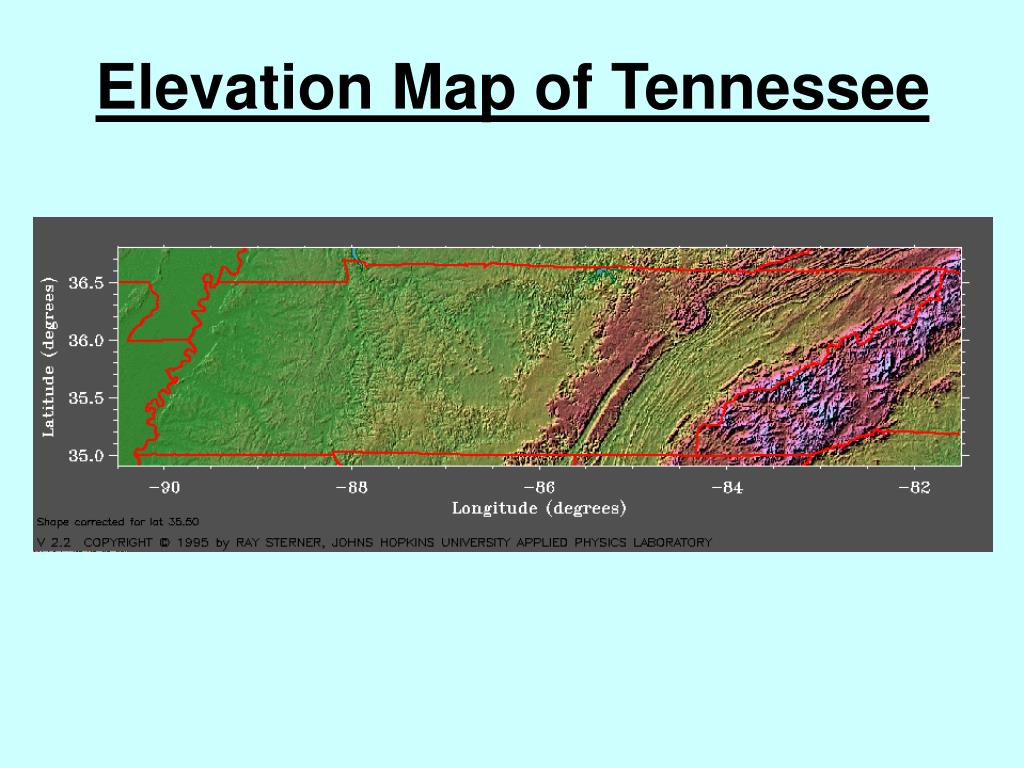 Elevation Map of Tennessee