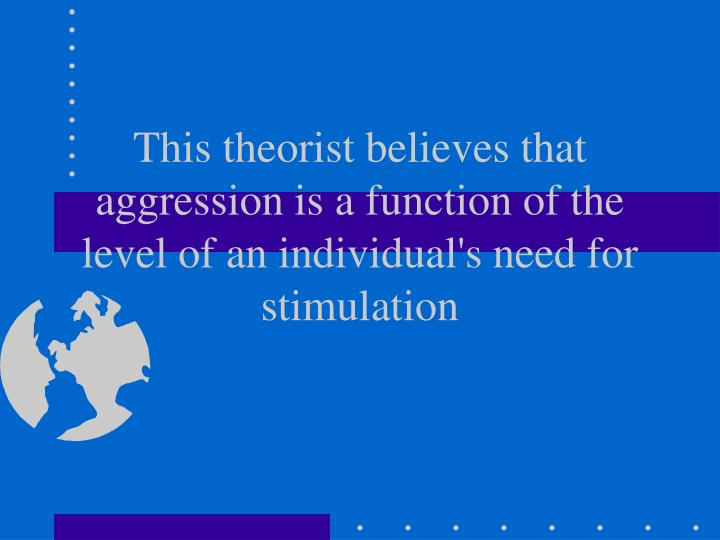 This theorist believes that aggression is a function of the level of an individual's need for stimul...