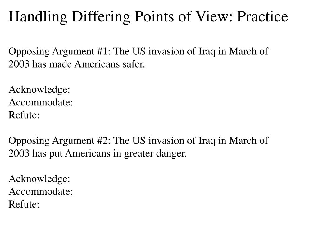 Handling Differing Points of View: Practice