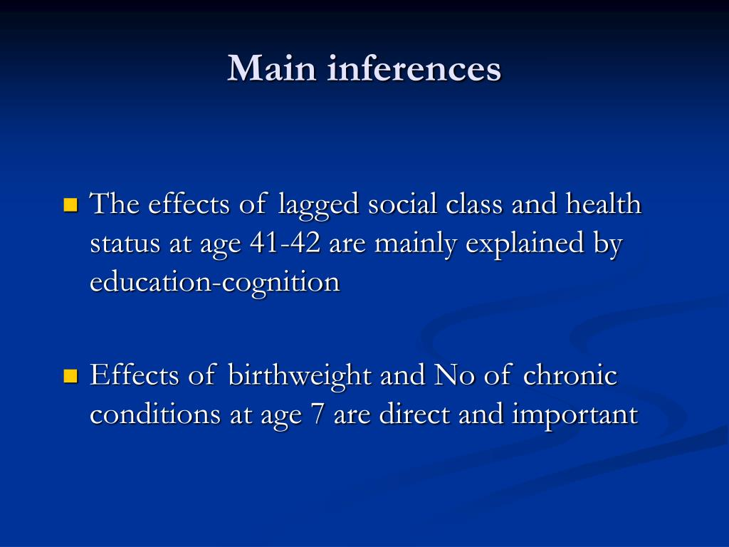 Main inferences
