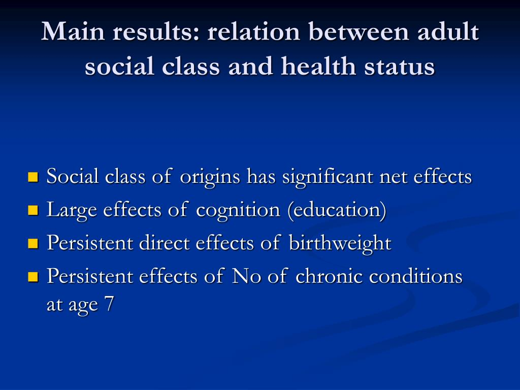 Main results: relation between adult social class and health status