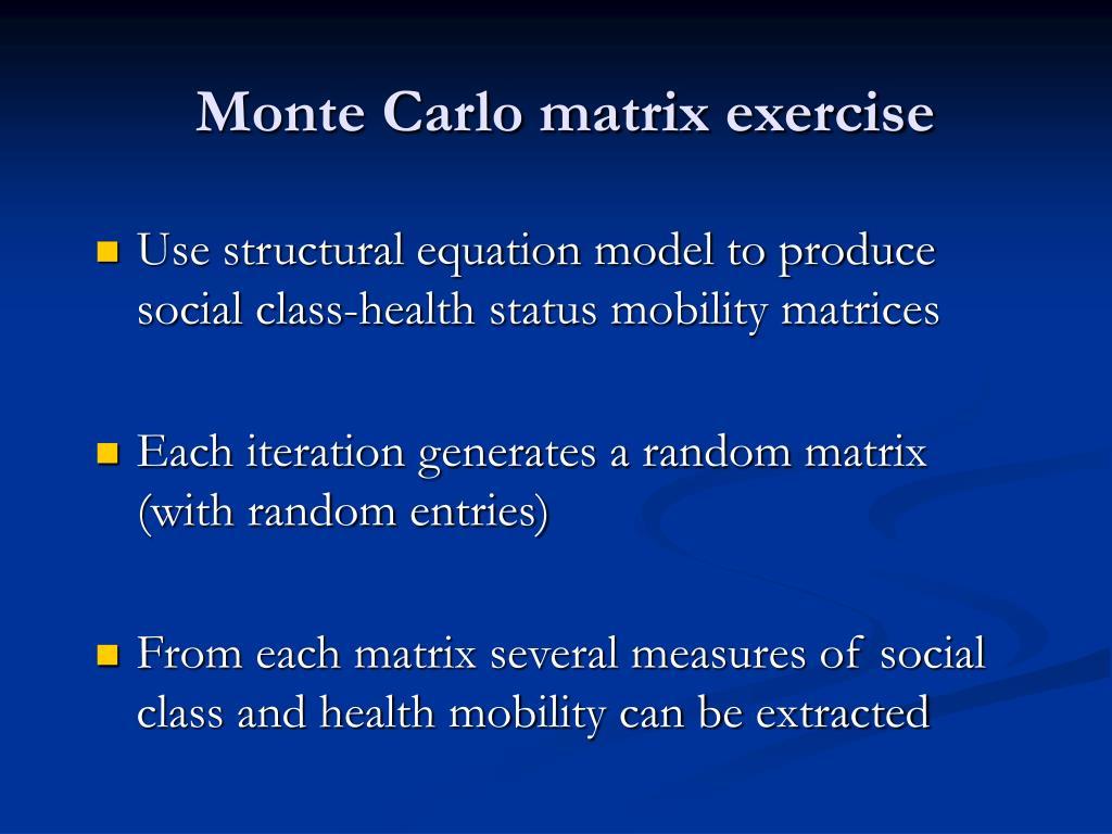 Monte Carlo matrix exercise