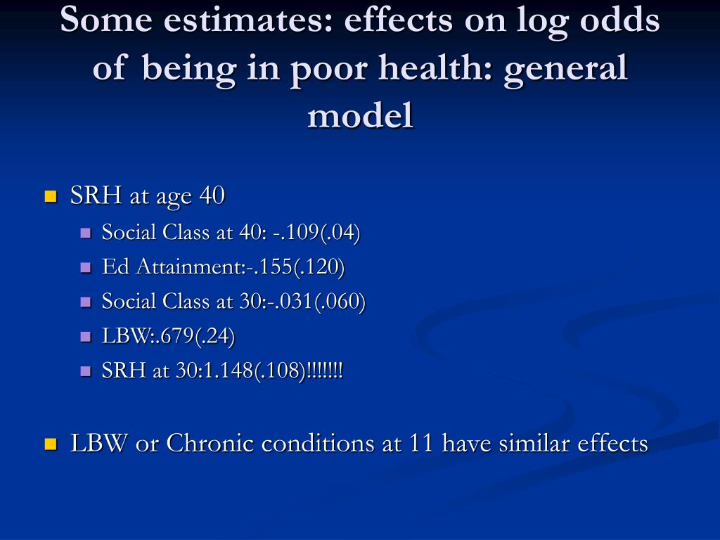 Some estimates: effects on log odds of being in poor health: general model