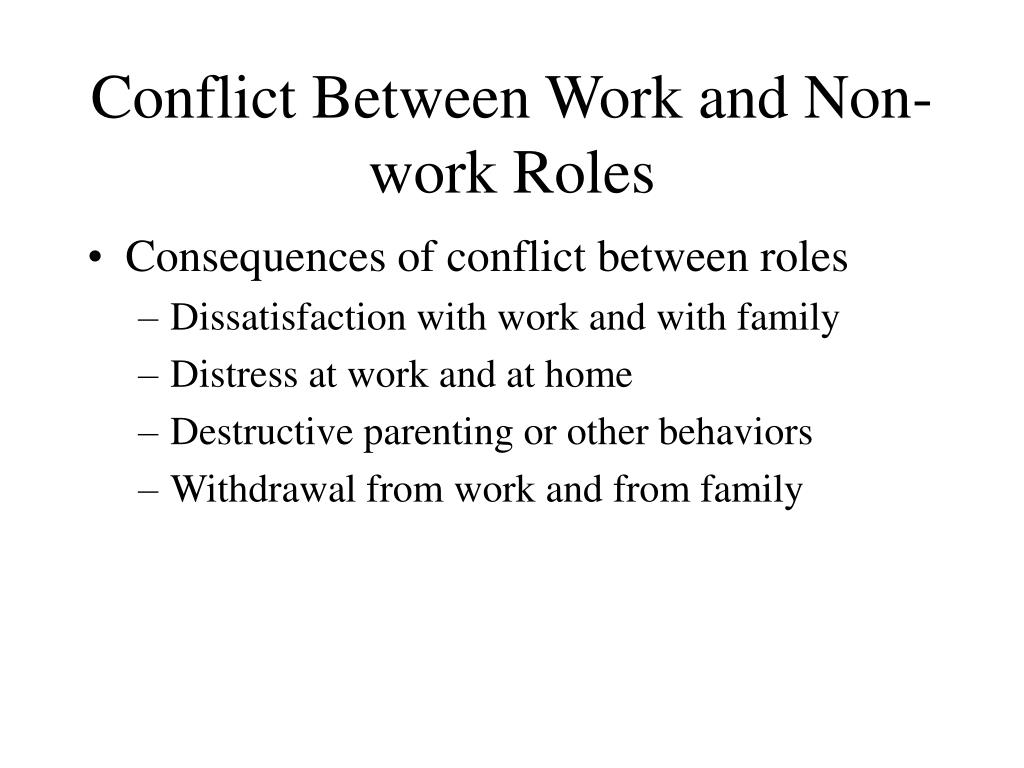 Conflict Between Work and Non-work Roles