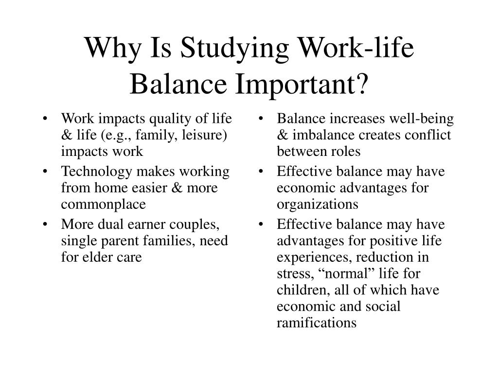 Work impacts quality of life & life (e.g., family, leisure) impacts work