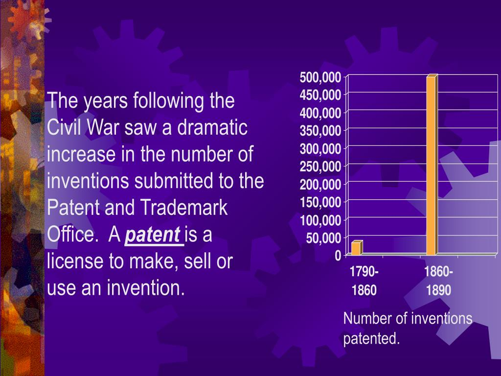 The years following the Civil War saw a dramatic increase in the number of inventions submitted to the Patent and Trademark Office.  A