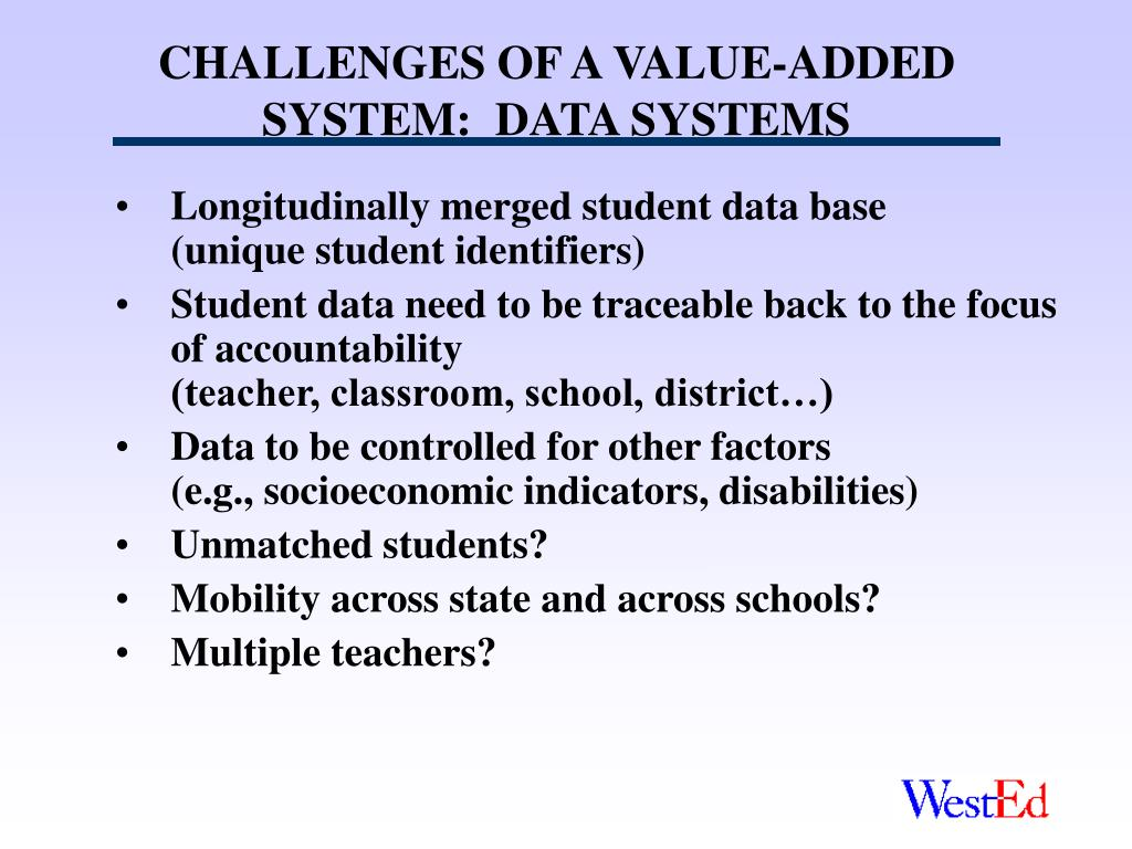 CHALLENGES OF A VALUE-ADDED SYSTEM:  DATA SYSTEMS