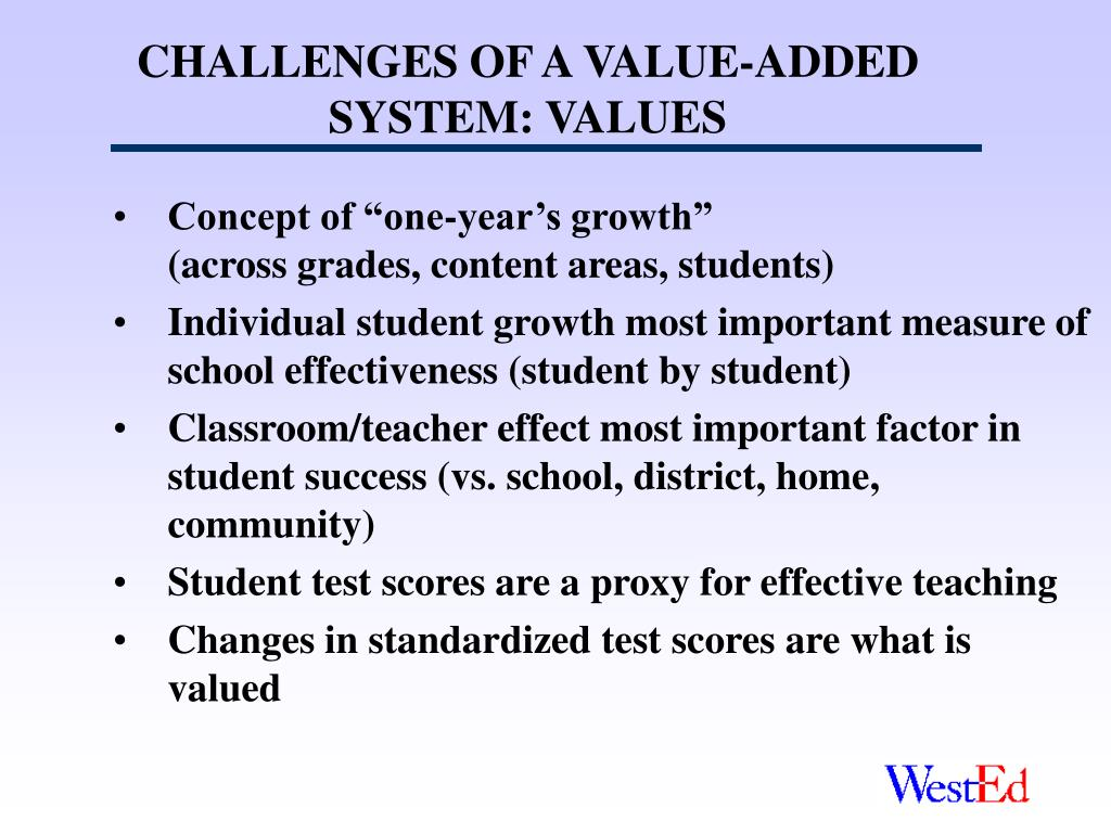 CHALLENGES OF A VALUE-ADDED SYSTEM: VALUES