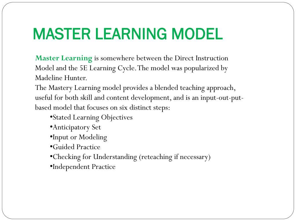 MASTER LEARNING MODEL