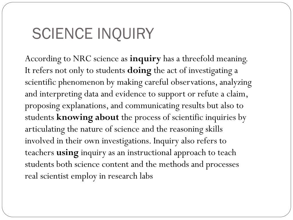 SCIENCE INQUIRY