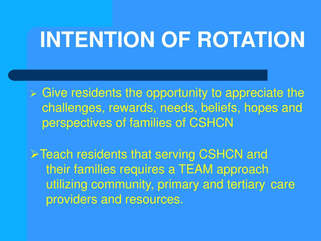 INTENTION OF ROTATION