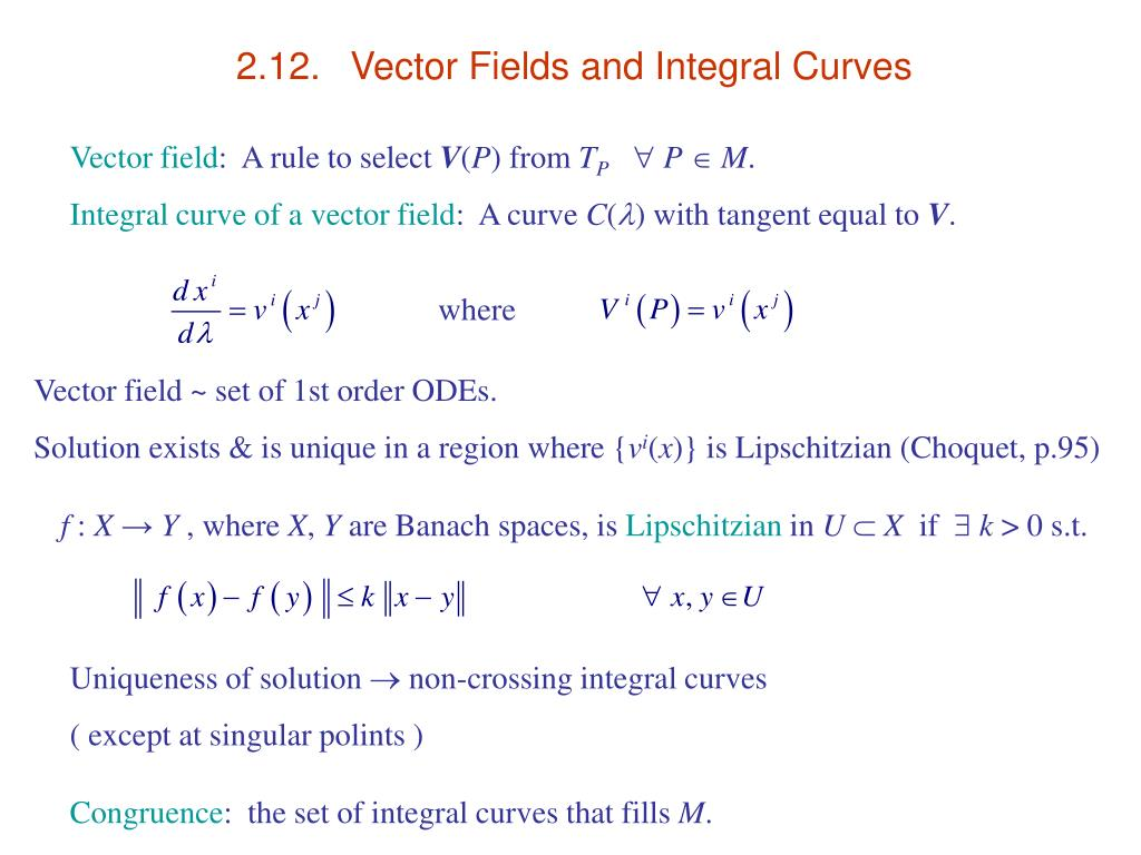 2.12.	Vector Fields and Integral Curves