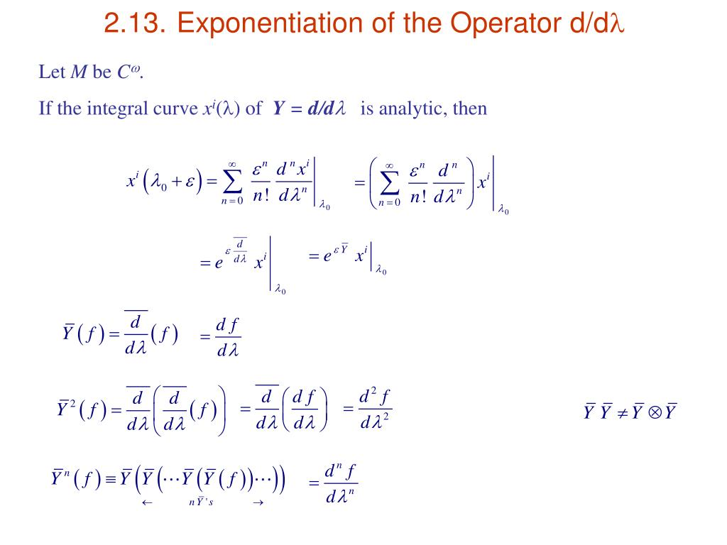 2.13.	Exponentiation of the Operator d/d