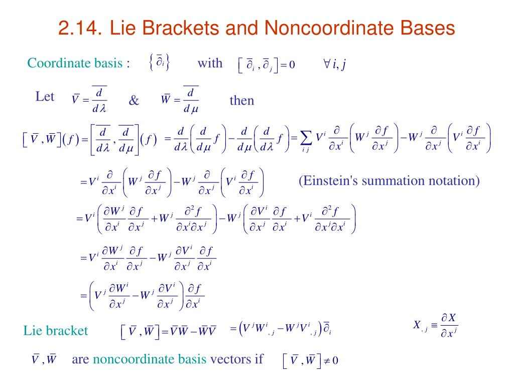 2.14.	Lie Brackets and Noncoordinate Bases