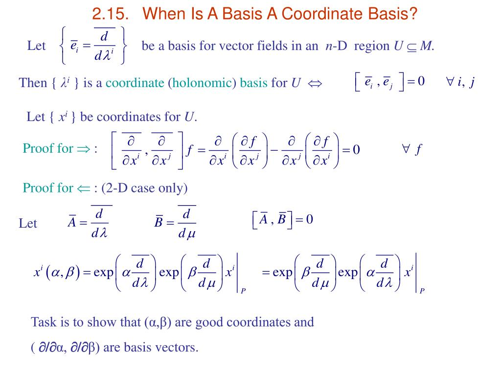2.15.	When Is A Basis A Coordinate Basis?