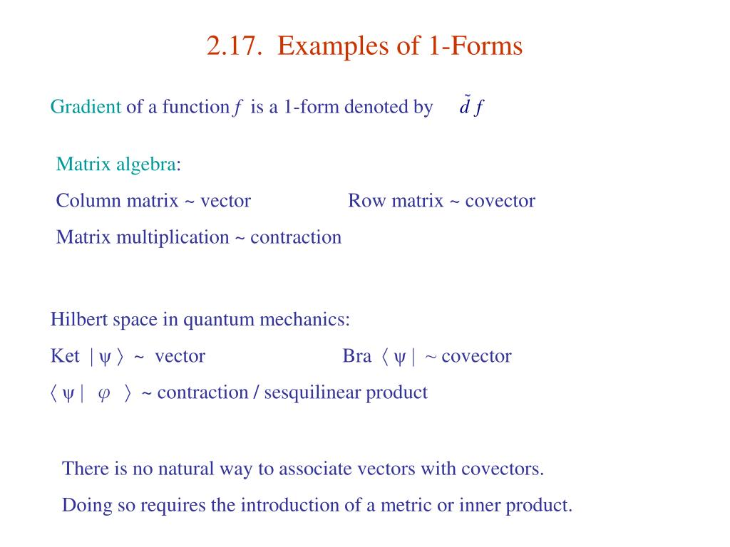 2.17.  Examples of 1-Forms