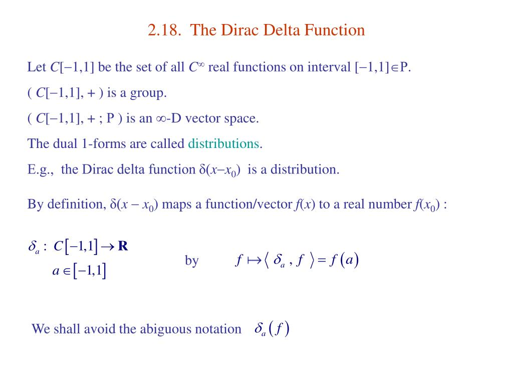 2.18.  The Dirac Delta Function