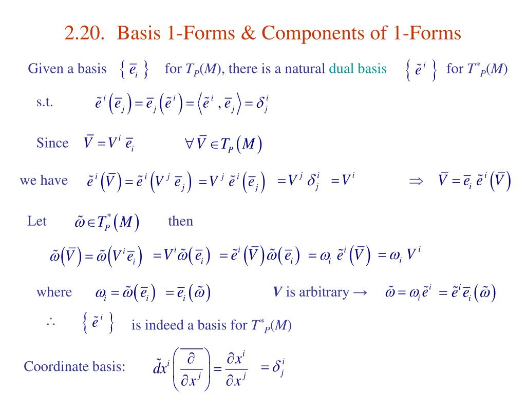 2.20.	Basis 1-Forms & Components of 1-Forms