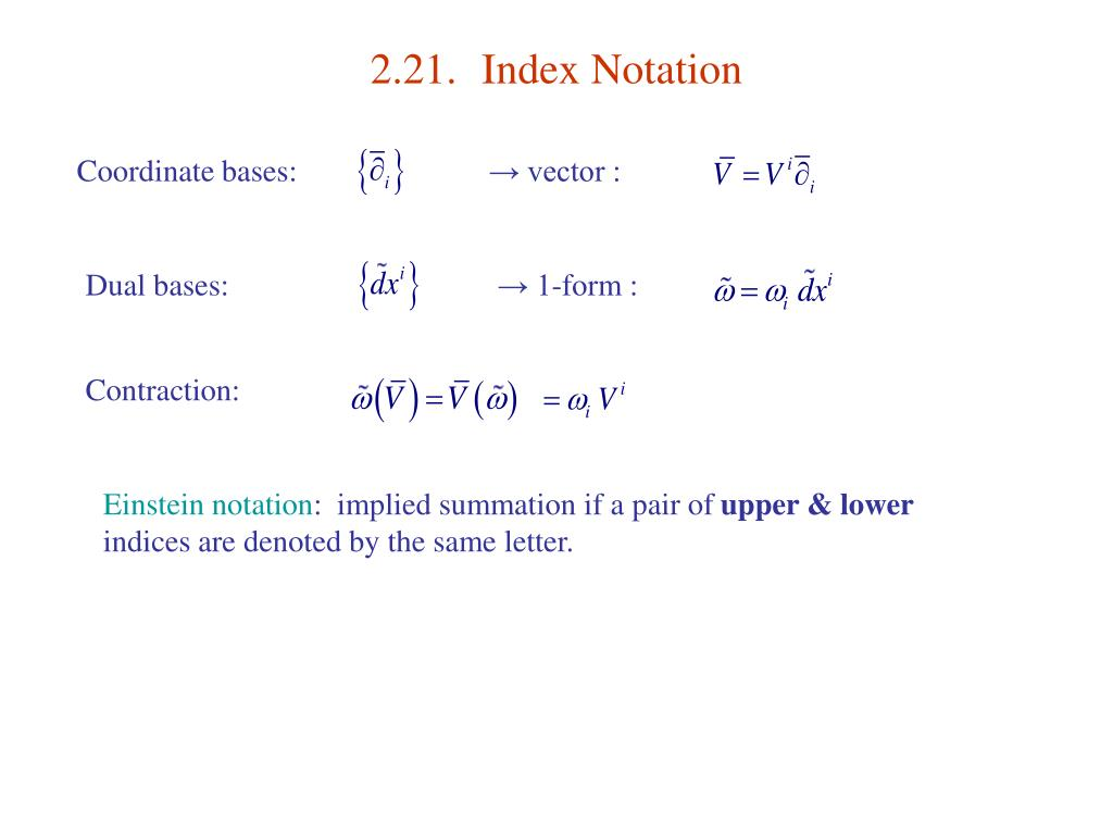 2.21.	Index Notation