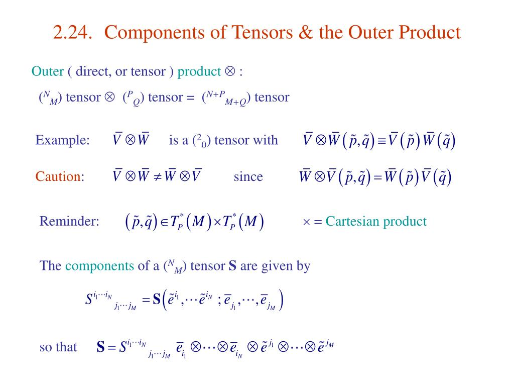 2.24.	Components of Tensors & the Outer Product