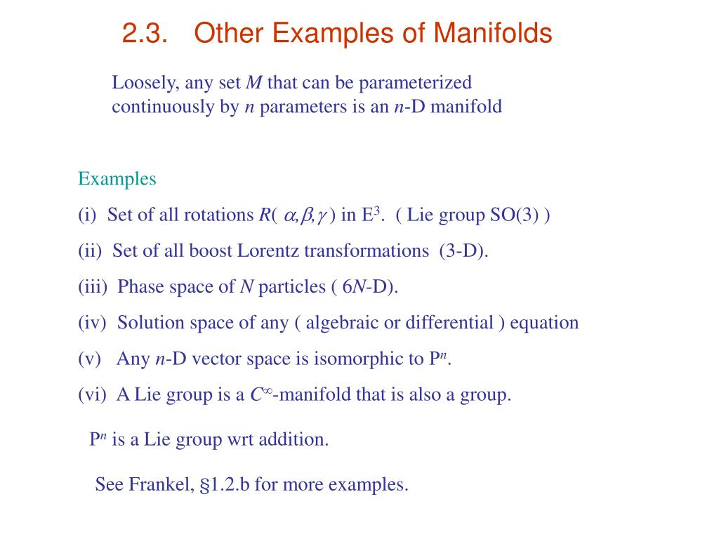 2.3.	Other Examples of Manifolds