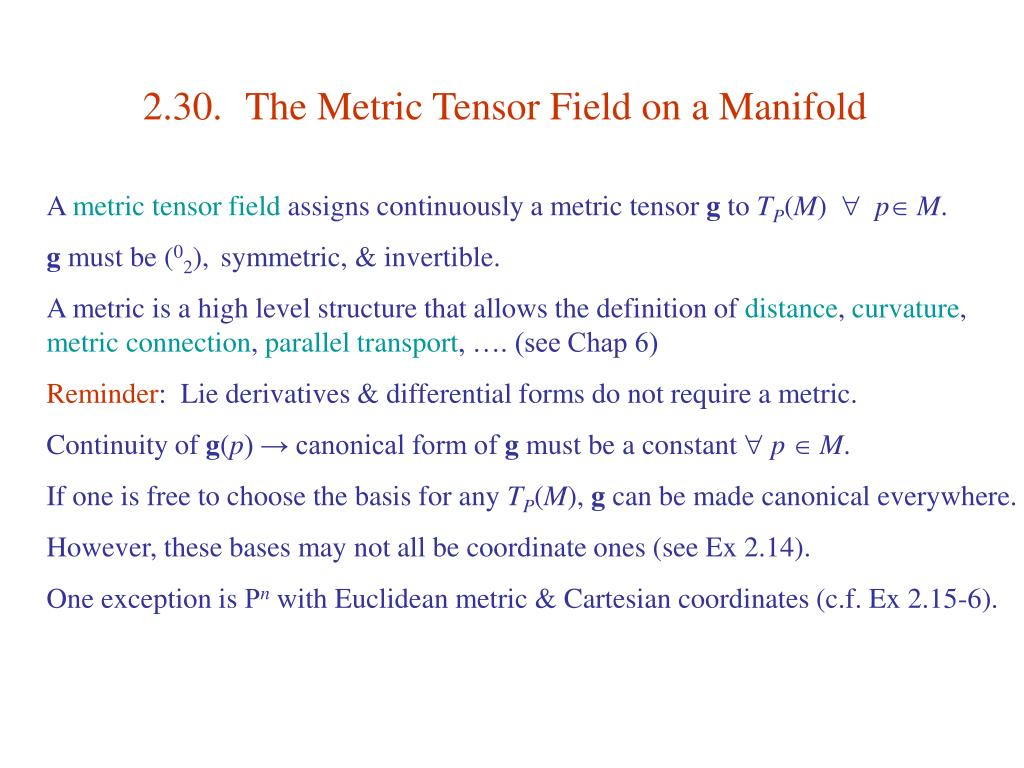 2.30.	The Metric Tensor Field on a Manifold