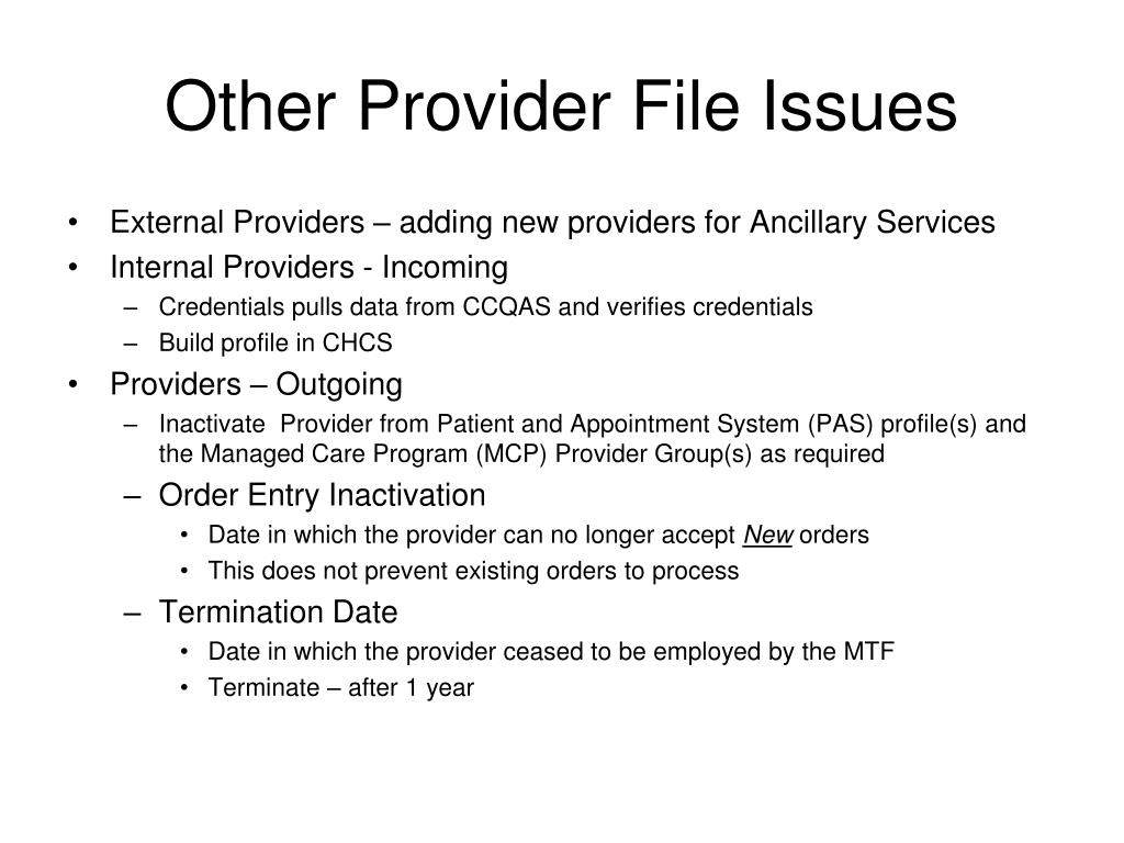 Other Provider File Issues