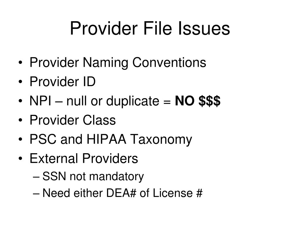 Provider File Issues