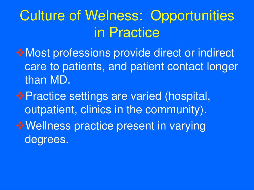 Culture of Welness:  Opportunities in Practice