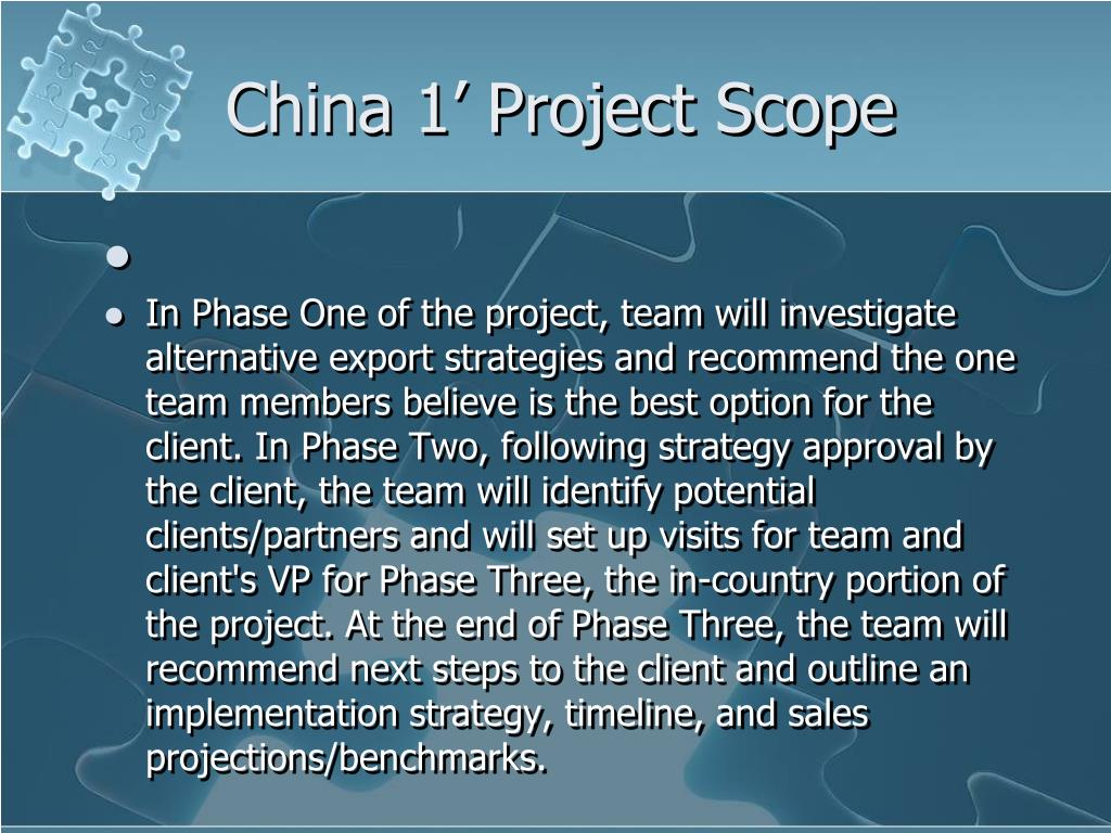 China 1' Project Scope