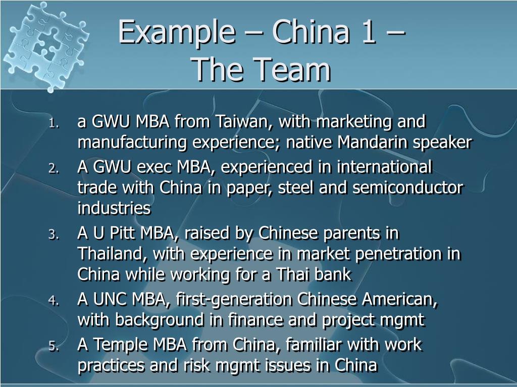 Example – China