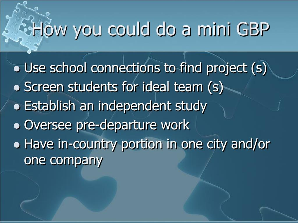 How you could do a mini GBP